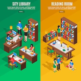 Banners verticais isométricas de biblioteca