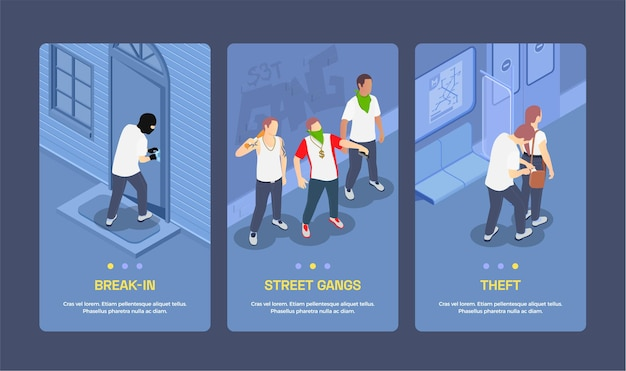 Banners verticais isométricos com gangues de rua cometendo furtos e arrombando fechaduras