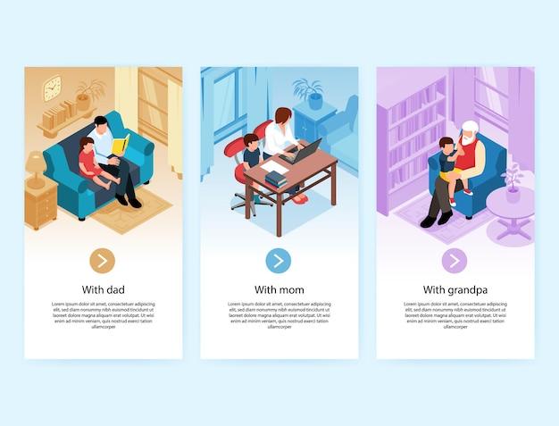 Banners verticais isométricos de bebês crianças crianças com texto editável para os pais e botões com ilustração de interiores domésticos.