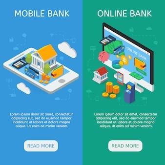 Banners verticais isométricos de internet banking