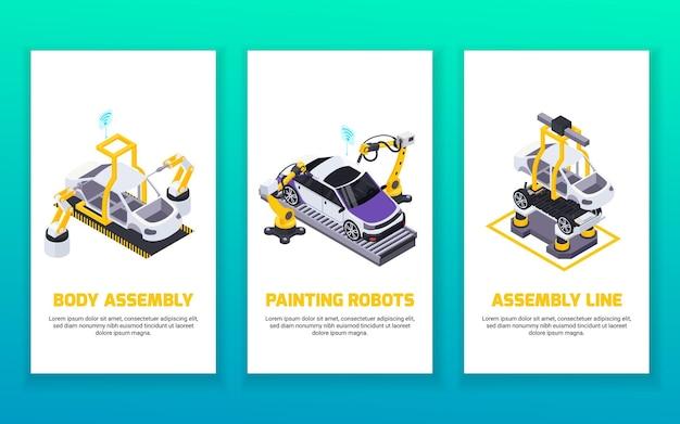 Banners verticais isométricos de produção de veículos elétricos com linha de montagem de braços robóticos automatizados e robôs de pintura