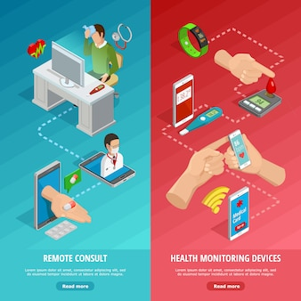 Banners verticais isométricos de saúde digital