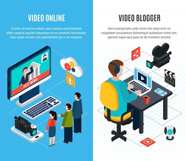 Banners verticais isométricos de vídeo fotográfico com mídia de massa e imagens de blog de vídeo com texto editável