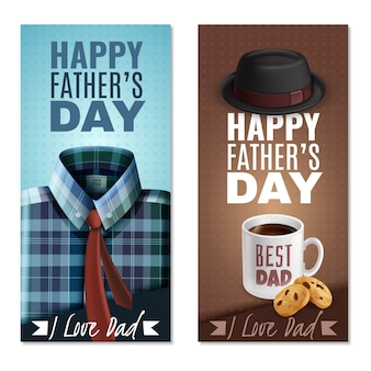 Banners verticais realistas do dia dos pais