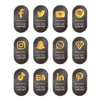 Banners verticais traseiros com ícones dourados de mídia social