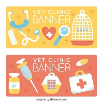 Banners veterinário com itens planas