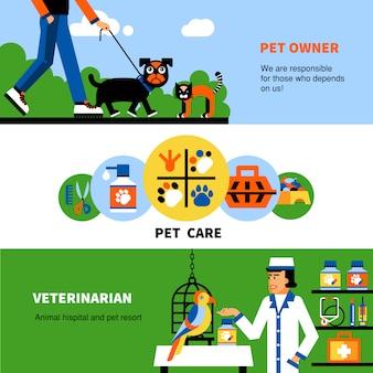 Banners veterinários com animal de estimação e veterinário