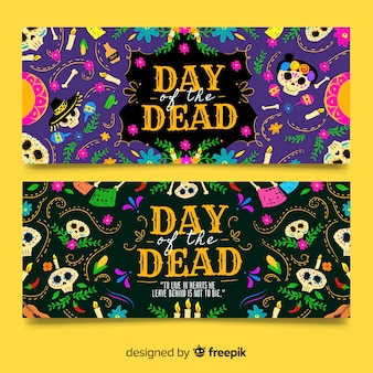 Banners vintage dia de muertos