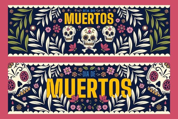 Banners vintage día de muertos