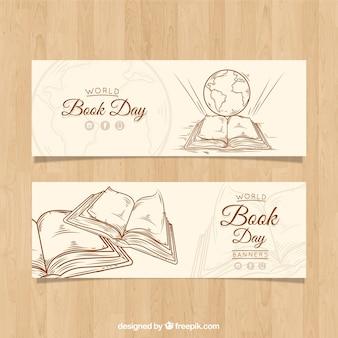 Banners vintage para o dia mundial do livro