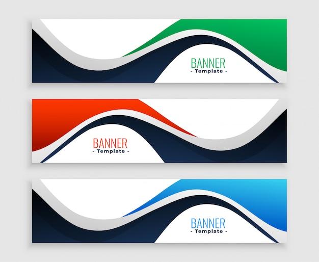 Banners web abstrata definida em estilos de forma ondulada