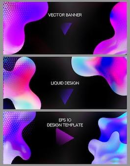 Banners web coloridos com formas abstratas de líquidos.