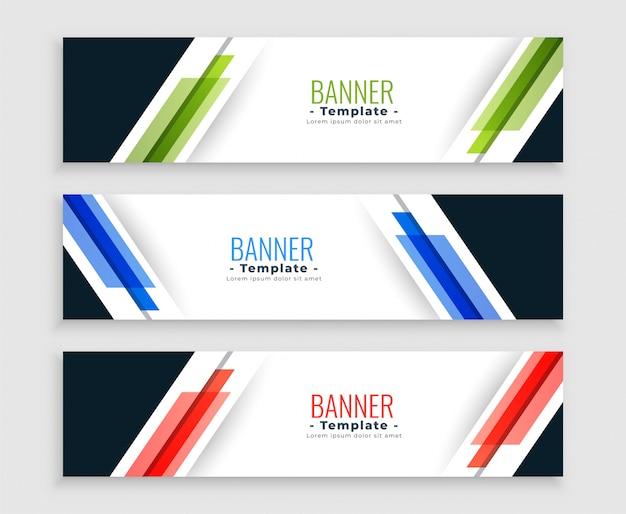 Banners web geométrica abstrata moderno conjunto em três cores