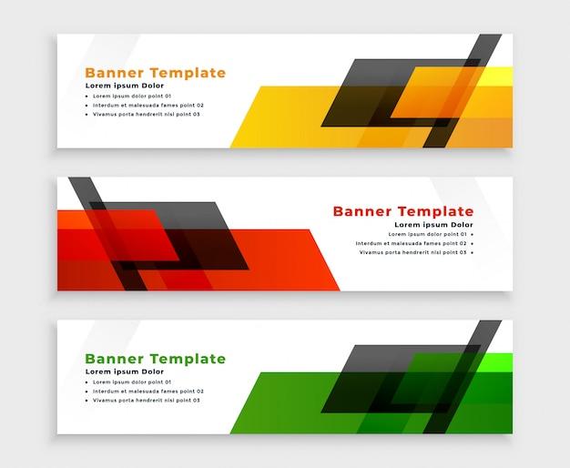 Banners web geométricos modernos em três cores
