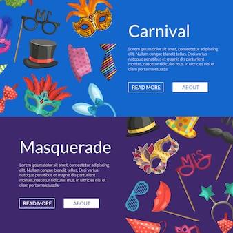 Banners web horizontais ou cartaz com máscaras e acessórios de festa