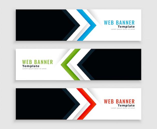 Banners web modernos ou cabeçalhos em estilo de forma de seta
