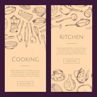 Banners web verticais de conjunto com utensílios de cozinha mão desenhada