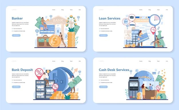 Banqueiro ou banner da web de banco ou conjunto de páginas de destino