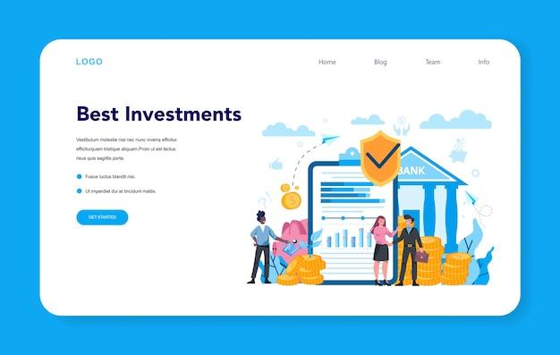 Banqueiro ou banner da web de banco ou página de destino