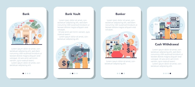 Banqueiro ou conjunto de modelo de aplicativo móvel bancário.