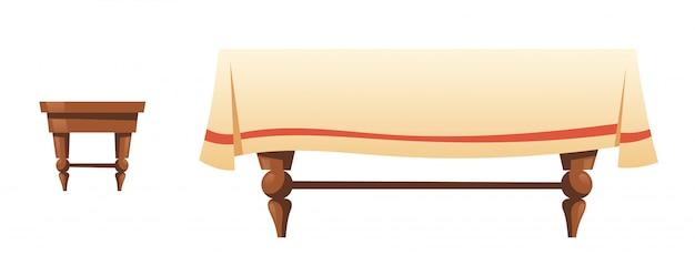 Banqueta e mesa de madeira com pano de linho