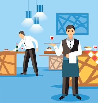 Banquete catering service flat vector ilustração