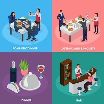 Banquete de catering isométrico