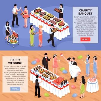 Banquetes horizontais de festa de banquete