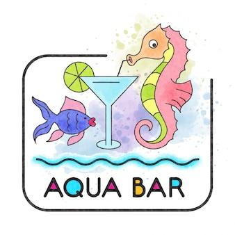 Bar aquático. banner aquarela com cavalo-marinho
