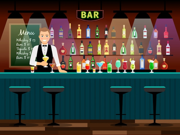 Bar balcão com bartender e garrafas de vinho nas prateleiras. ilustração vetorial