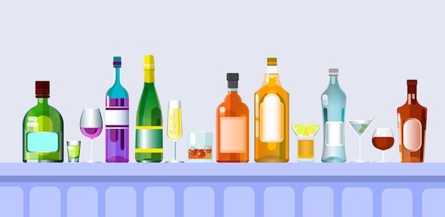 Bar balcão com copos de bebida de álcool