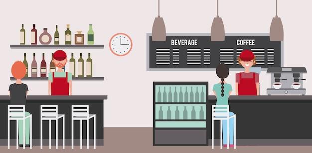 Bar café e baristas