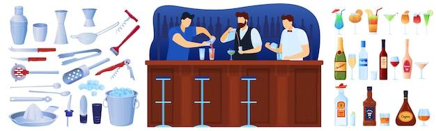 Bar com bebidas alcoólicas e conjunto de equipamentos de coctails de ilustrações isoladas.