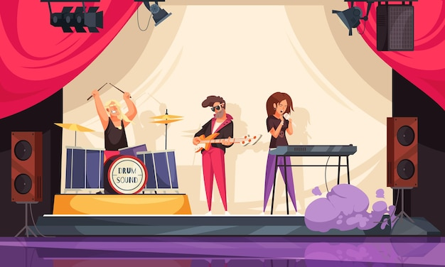 Bar com música ao vivo em restaurante de composição de rock com ilustração de três membros