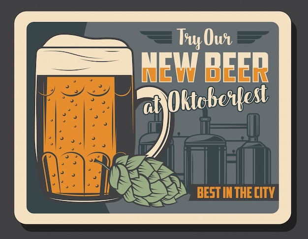 Bar da cervejaria, poster vintage da oktoberfest bar de cerveja