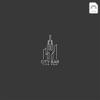 Bar da cidade, ilustração em vetor bebida clube logotipo modelo criativo