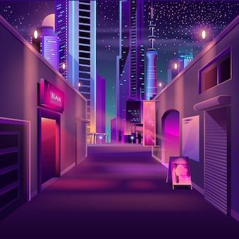 Bar da noite no desenho de metrópole moderna