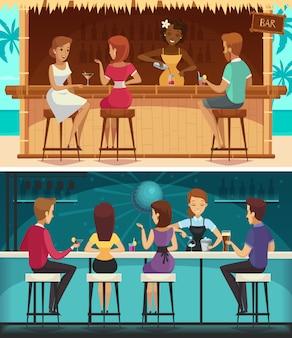Bar da praia e bar à noite dos desenhos animados banners horizontais