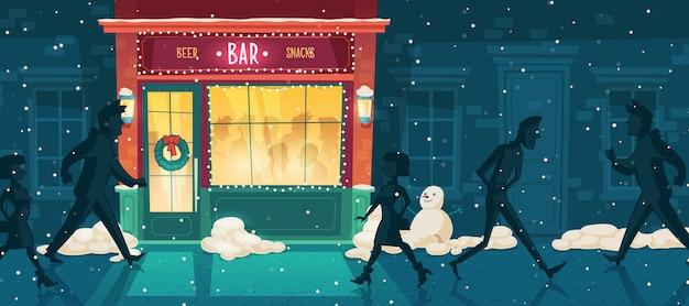 Bar de cerveja de vetor no inverno, véspera de natal