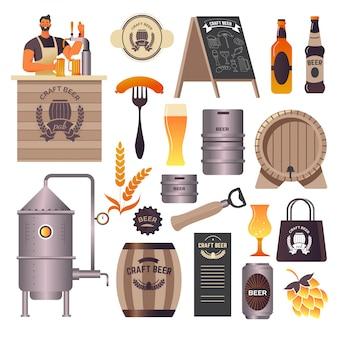 Bar de cervejas artesanais, cervejaria e bar, barman derramando bebida