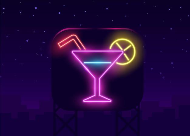 Bar de cocktails de néon cadastre-se na parede de tijolo escuro.