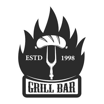 Bar de grelhados. garfo com salsicha. elemento para logotipo, etiqueta, emblema. ilustração