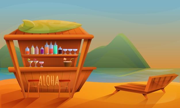 Bar de praia dos desenhos animados ao pôr do sol, ilustração