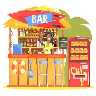 Bar de praia em estilo tropical design com resta barman a sorrir