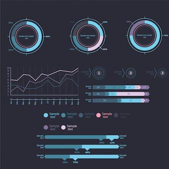 Bar e gráficos de linhas, pessoas infográficos, diagramas