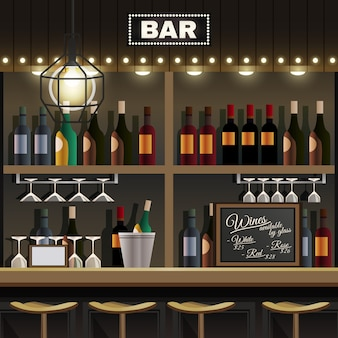 Bar interior realistic