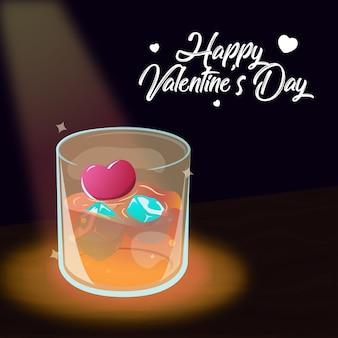 Bar modelo karaoke dia dos namorados amor coração bar gelo álcool cerveja cartão Vetor Premium