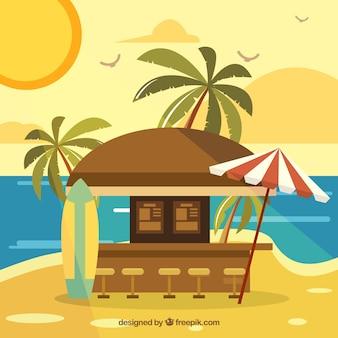 Bar na praia celestial com design plano