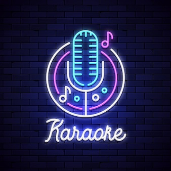 Bar noturno de karaokê neon. mocrophone karaoke logotipo sinal música disco, luz de néon retrô clube sinal.
