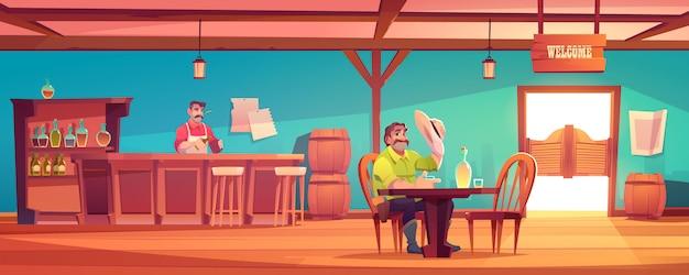 Bar ocidental com cowboy e barman